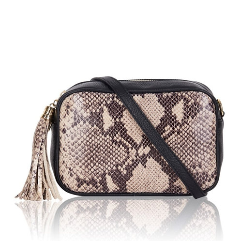 Taupe Snake Cross Body Bag with Tassel