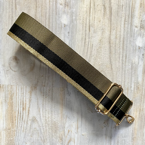 Khaki Stripe Bag Strap - Gold Hardware