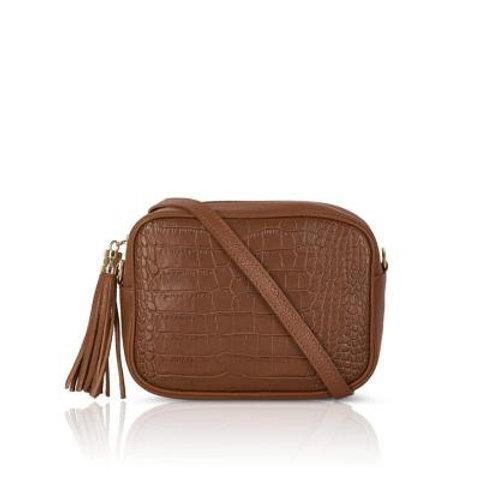 Dark Tan Mock Croc Crossbody Bag with Tassel