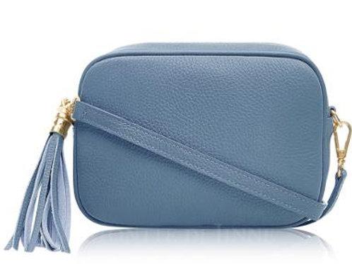 Denim Blue Cross Body Bag with Tassel