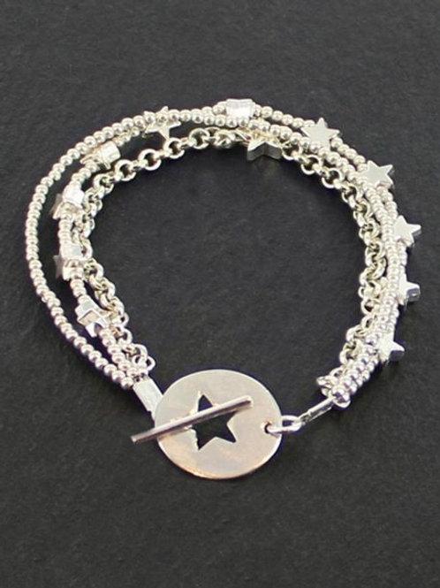 Silver Triple Strand Star Bracelet with Star T Clasp