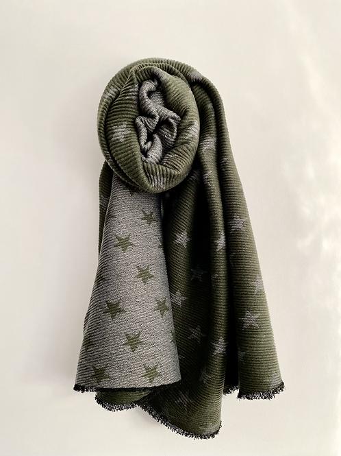 Khaki & Grey Reversible Star Scarf