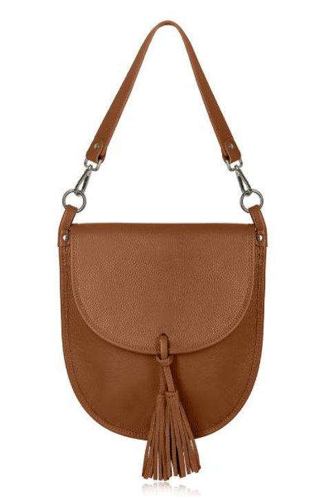Dark Tan Tassel Tote/ Crossbody Bag