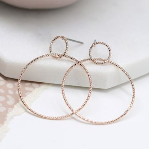 Rose Gold Texture Hoop Stud Earrings