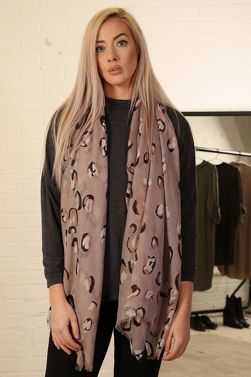 Taupe Leopard Print Scarf