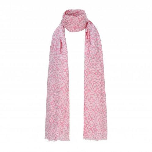 Pink & White Print Scarf