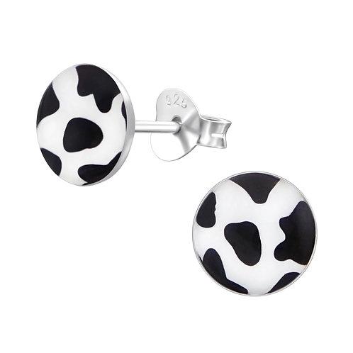 Cow Print Sterling Silver Stud Earrings