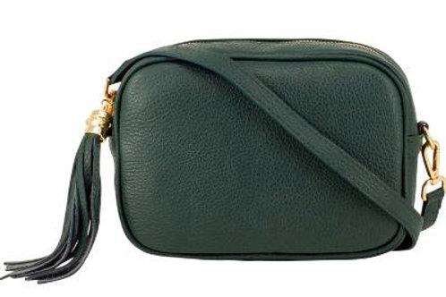 Dark Green Cross Body Bag with Tassel