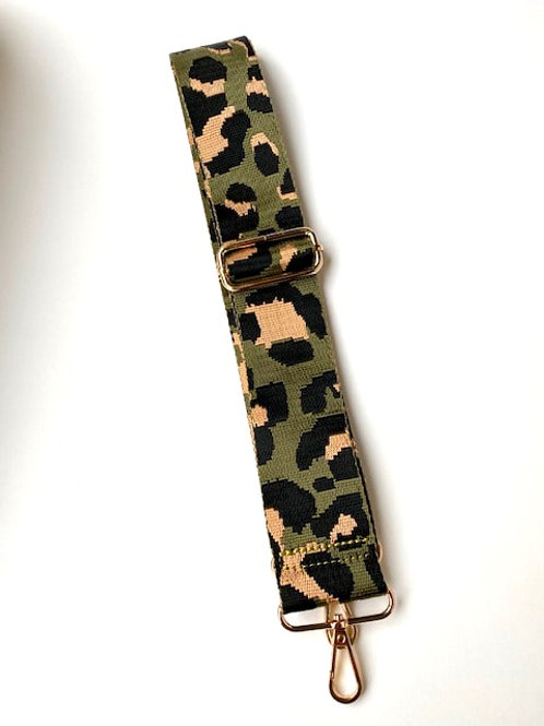 Khaki Animal Print Bag Strap