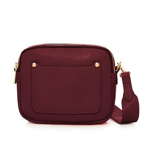 Burgundy Double Zip Crossbody Bag