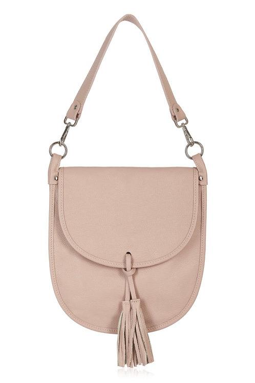 Blush Pink Tassel Tote/ Crossbody Bag
