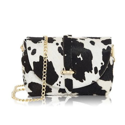 Cow Print Gold Chain Strap Bag