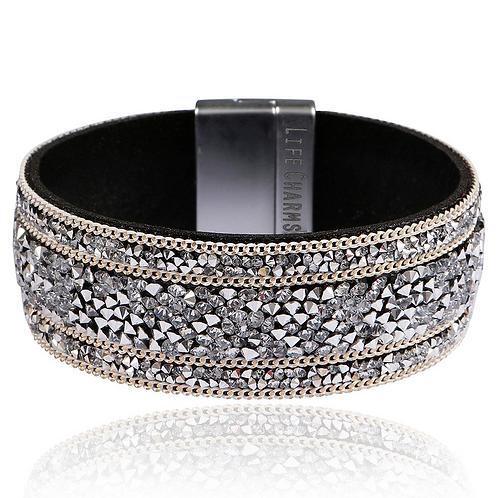 Grey Glitter Wrap Bracelet