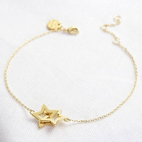 Gold Interlocking Star Bracelet