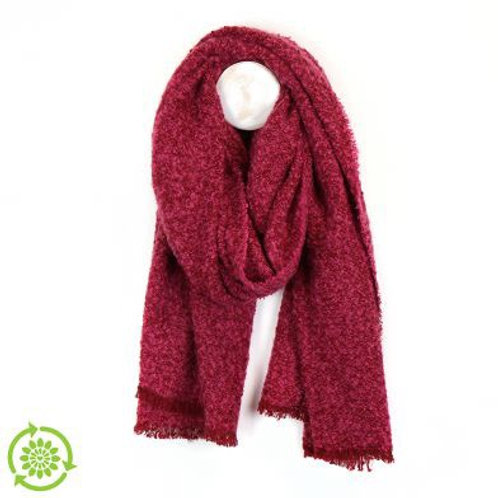 Raspberry Boucle Blanket Scarf