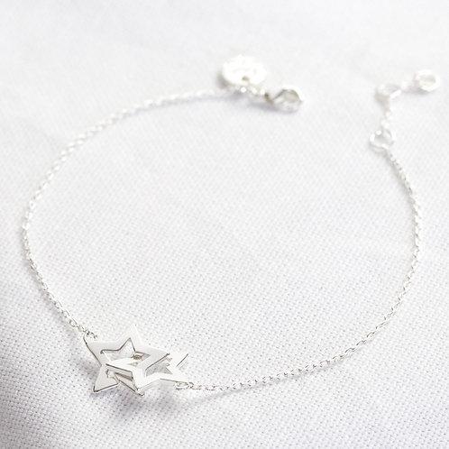 Silver Interlocking Star Bracelet