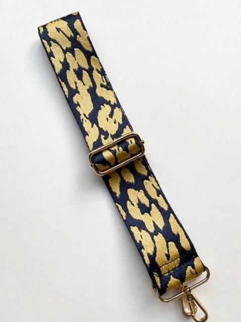 Navy & Yellow Cheetah Print Bag Strap