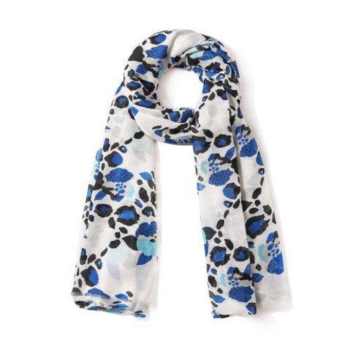 Cobalt Leopard Floral Scarf