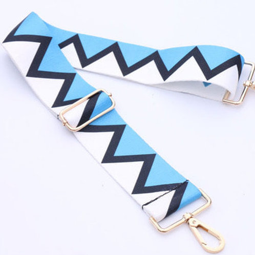 Blue & White Zig Zag Bag Strap
