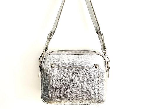 Silver Double Zip Crossbody Bags- Silver Hardware