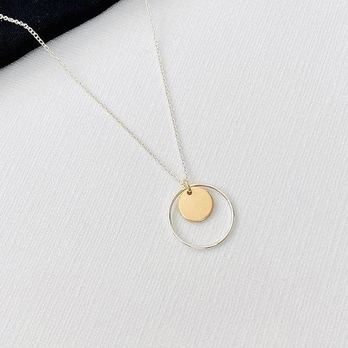 Silver Circle & Gold Disc Necklace