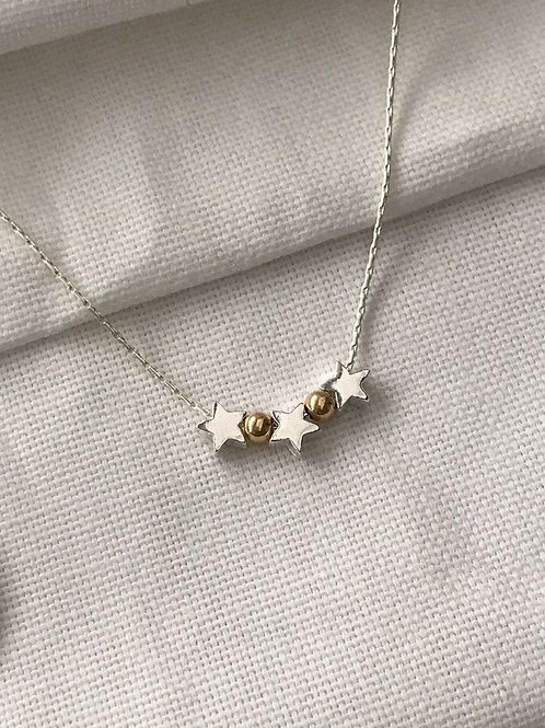 Silver & Gold Beaded Star Necklace