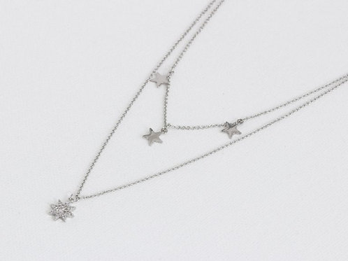 Sienna Row of Stars Silver Necklace