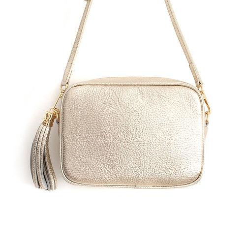 Gold Crossbody Bag with Tassel