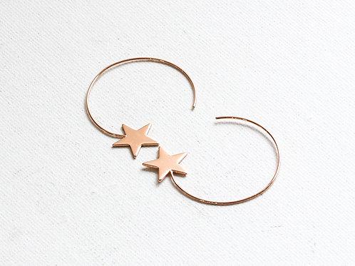 Vivianne Rose Gold Star Pull Through Earrings