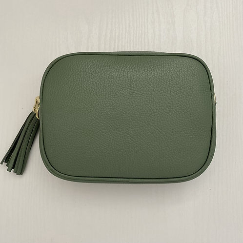 Sage Green Crossbody Bag with Tassel