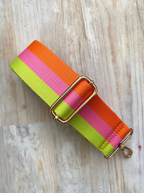 Neon Stripe Bag Strap - Gold Hardware