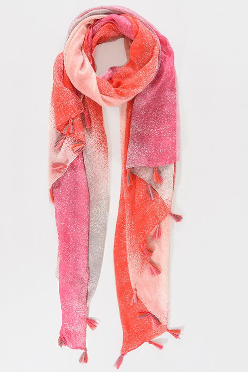 Red & Pink Ombre Tassel Scarf