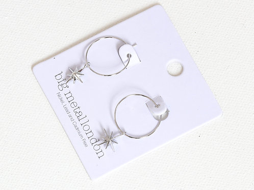 Ilaria Tiny Star Silver Delicate Hoop Earrings