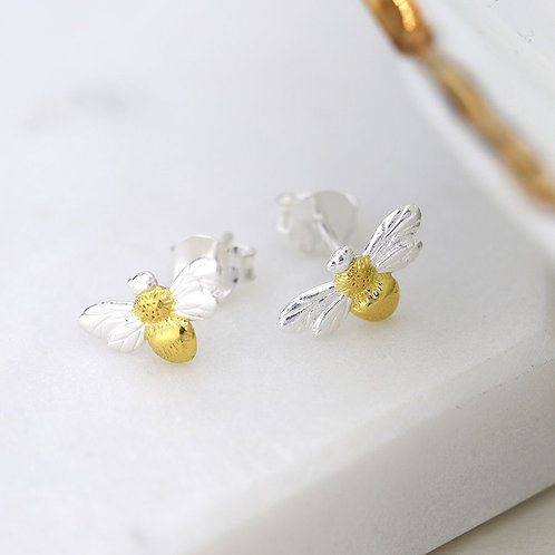 Sterling Silver & Gold Bee Stud Earrings