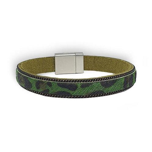 Narrow Green Animal Print Wrap Bracelet