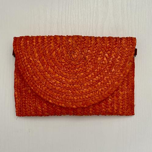 Orange Straw Clutch Bag