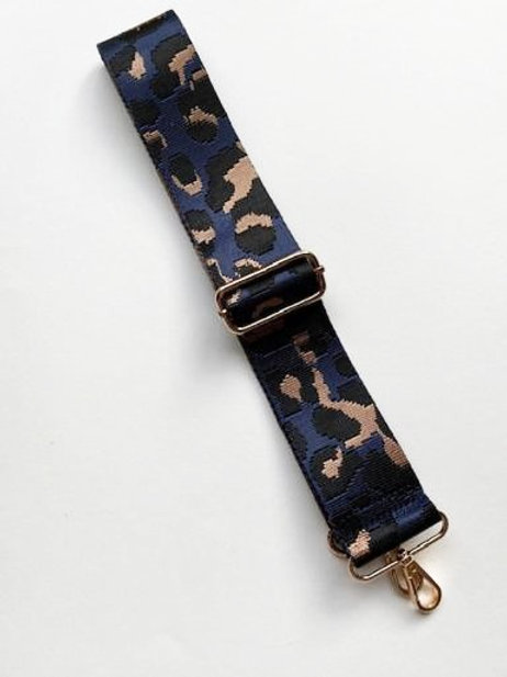 Navy & Gold Animal Print Bag Strap