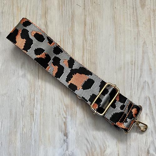 Grey & Orange Animal Print Bag Strap - Gold Hardware
