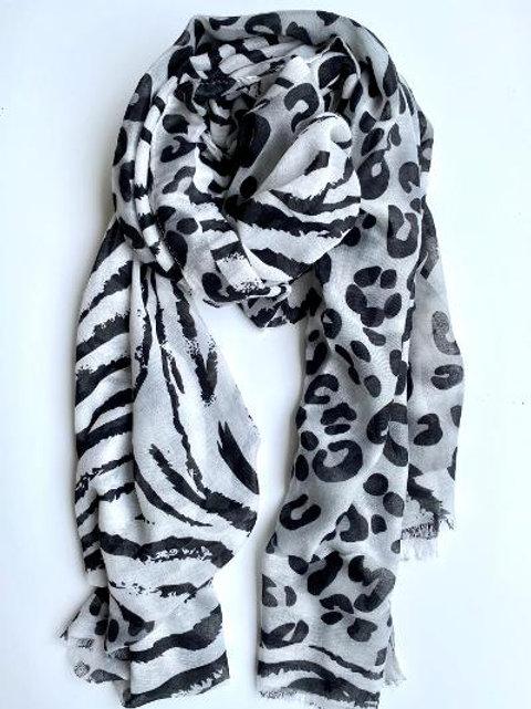 Grey Leopard & Zebra Scarf