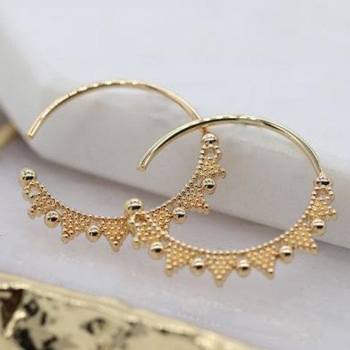 Gold Beaded Zig Zag Hoop Earrings