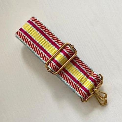 Pink & Yellow Aztec Bag Strap - Gold Hardware