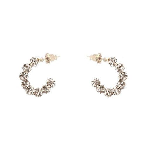 Silver Delicate Rhinestone Hoop Earrings