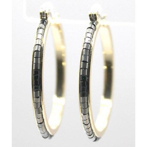 Pewter Seed Bead Gold Hoop Earrings