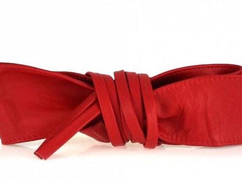 Red Obi Style Waist Belt