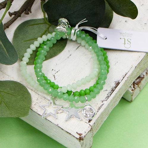 Green Beaded Bracelet Stack