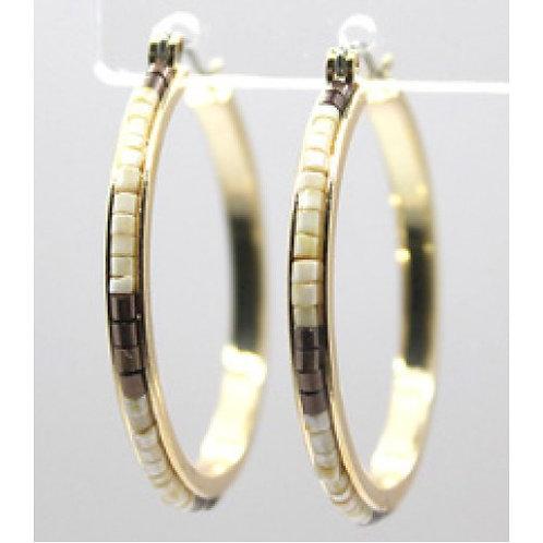 Ivory Seed Bead Gold Hoop Earrings