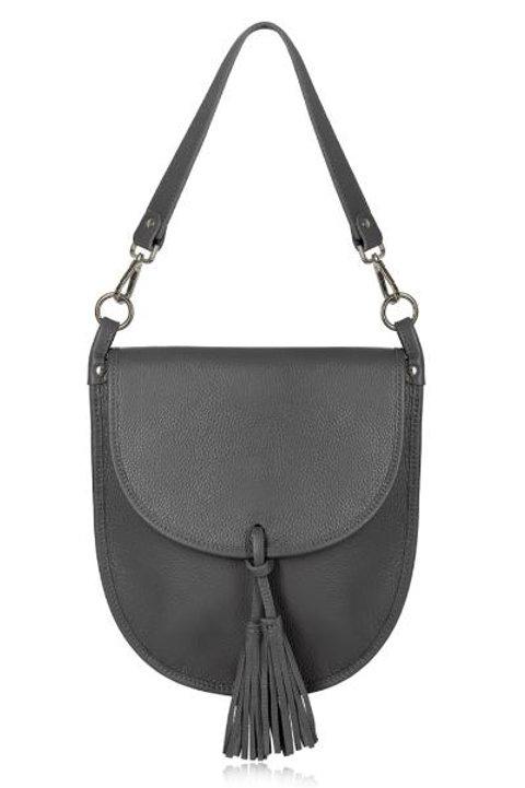 Dark Grey Tassel Tote/ Crossbody Bag