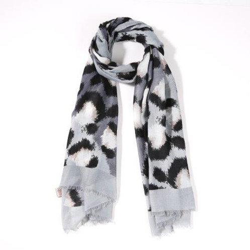 Grey Leopard Stripe Scarf
