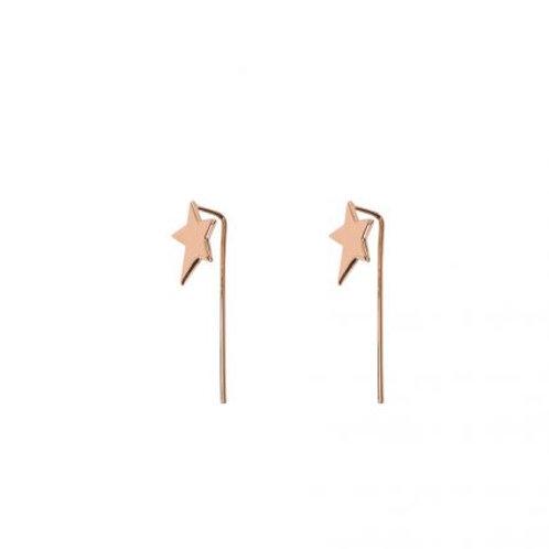 Chara Rose Gold Mini Star Pull Through Earrings
