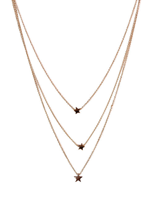Estelle Rose Gold 3 Layer Star Necklace